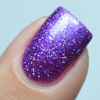 purple nail polish with holo flecks