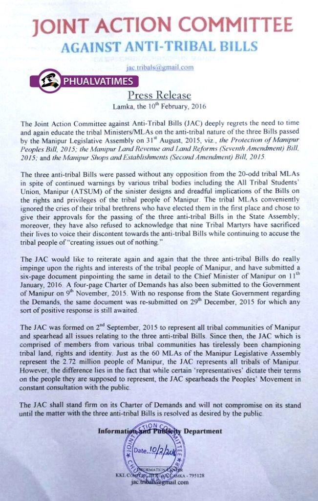 Press Release: JAC Against Anti-Tribal Bills