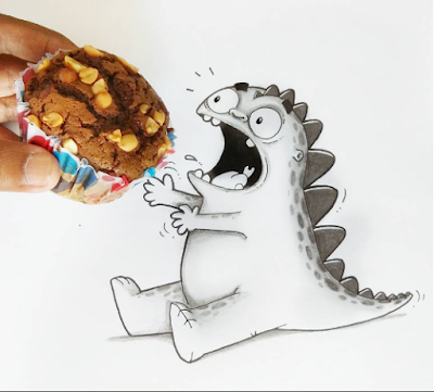 illustration dragon et brownies au chocolat