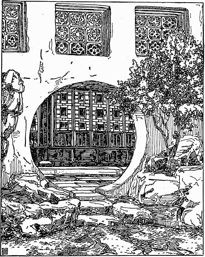 B.J. Morrison drawing of a courtyard with circular door