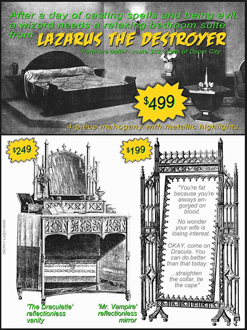 gothic furniture, vampire furniture, advertising parody