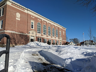 Davis Thayer in snow from an earlier storm in winter of 2018