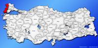 Edirne ilinin Türkiye haritasında gösterimi