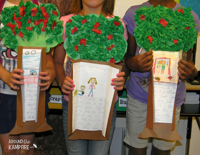 Apple activites and fall bulletin board ideas: Publish students' work in an apple tree!
