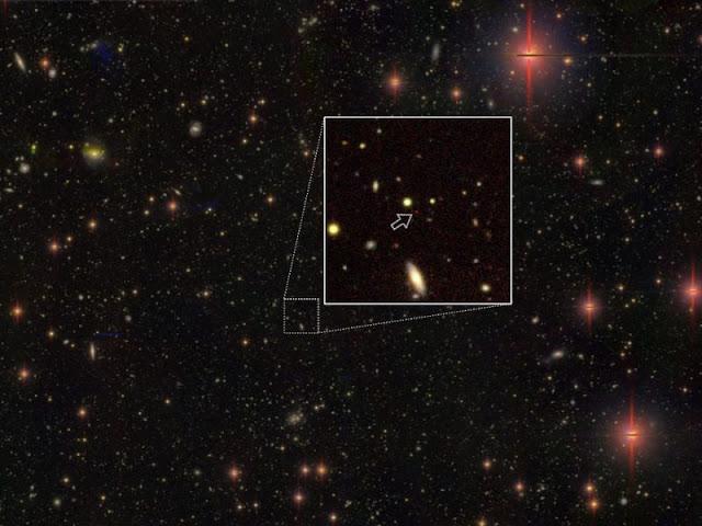 buraco negro supermassivo a13.05 bilhões de anos-luz de distância