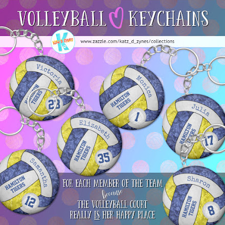 girls volleyball team spirit keychains with custom team colors