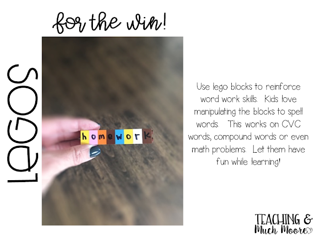 use lego blocks to reinforce word work at centers