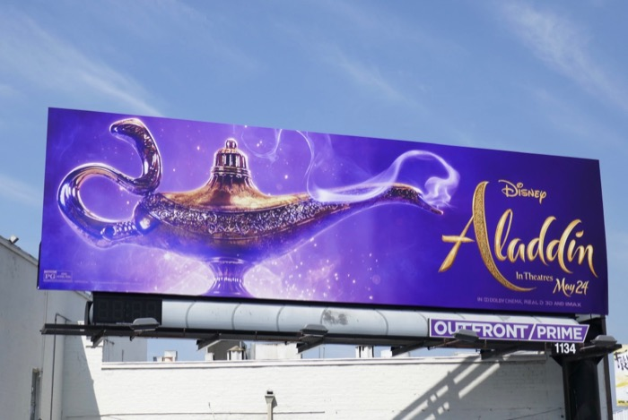 Aladdin movie Genie lamp billboard
