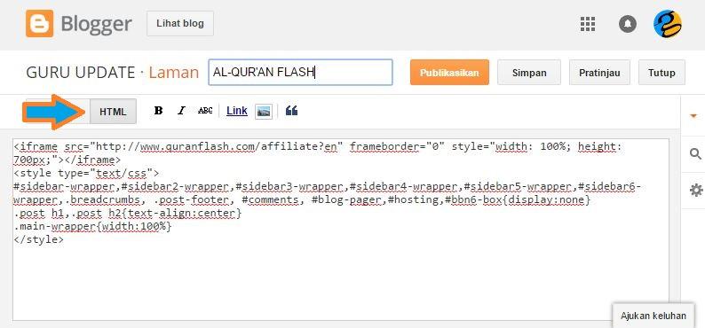 Cara Mudah Memasang Al-Qur'an Flash Online di Blog