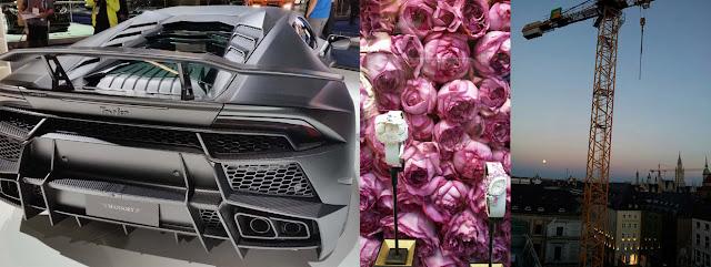 Lamborghini Torofeo, pink flowers, Munich roof top Bayrischer Hof