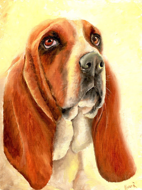 oil painting of a bassett hound in the sunshine