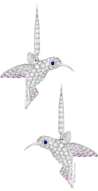 Brilliant Luxury♦Boucheron Paris Hopi Hummingbird sleepers earrings