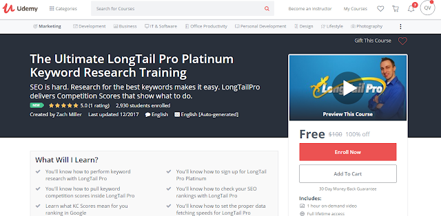 The Ultimate LongTail Pro Platinum Keyword Research Training-Udemy Free (100%)