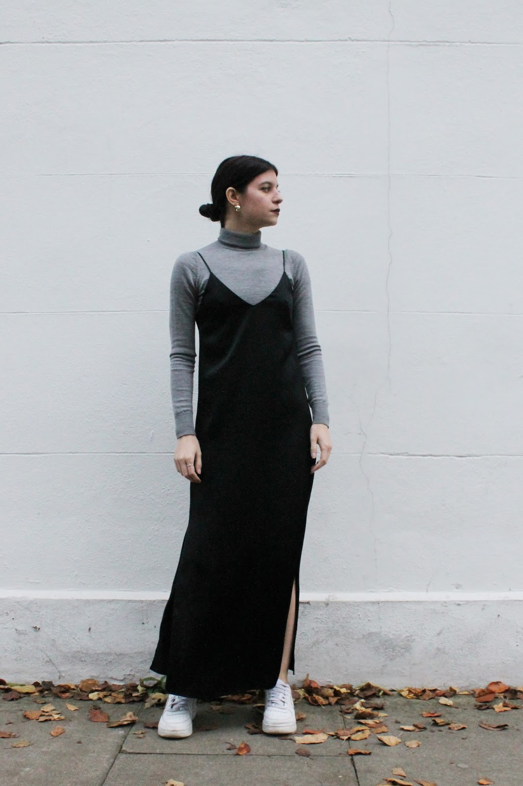 slip dress, turtleneck sweater, layering, monochrome, fall outfit, fashion blogger, london blogger, microinfluencer