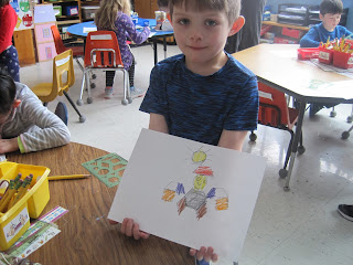 student coloring shapes