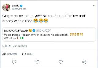 Davido reacts to Don Jazzy's impregnating a girl post
