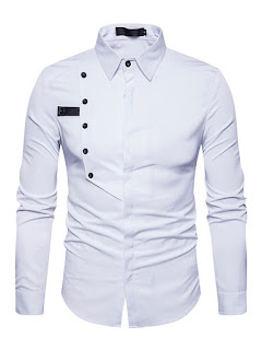 Plain Lapel Single-Breasted Unique Slim Men's Shirt