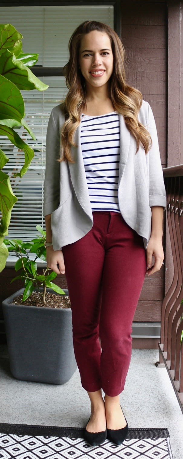 Jules in Flats - Burgundy Pixie Pants with Striped Top and Grey Drapey Blazer