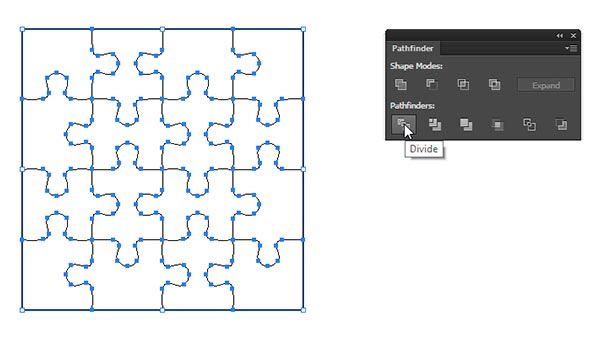 use divide from pathfinder to create puzzle pieces
