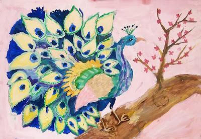 детский рисунок красавец павлин, 100 дней - 100 рисунков