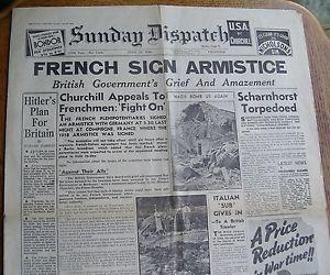 23 June 1940 worldwartwo.filminspector.com French Armistice Headline