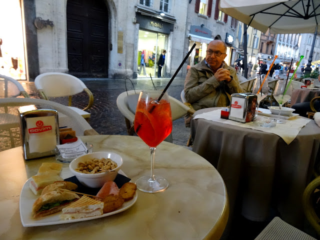 Apertivo hour Gran Caffe Cavour in Parma, Italy