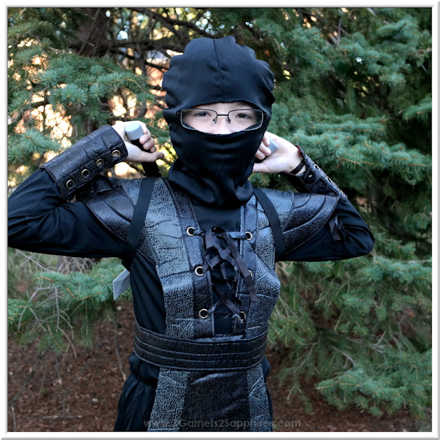 Ninja Fighter Leather Boys Halloween Costume  |  3 Garnets & 2 Sapphires