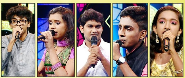 The finalists of Pathinalam Ravu Season 4- Vaikash, Shruthi, Abdul Hakeem, Ajmal, Narmada