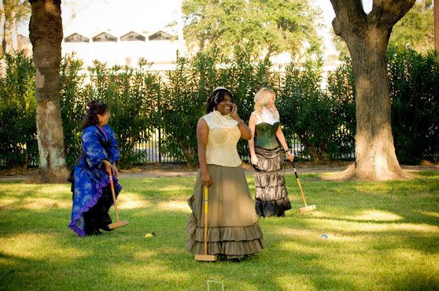 steampunk wedding, steampunk bride and groom, louise black corset, retroscope fashion, kempner park galveston, garten verein, galveston, wedding, steampunk picnic, croquet, fanplusfriend, corsets-uk, retroscope fashion