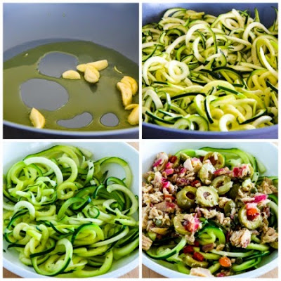 Zucchini Noodles with Tuna and Green Olives found on KalynsKitchen.com.