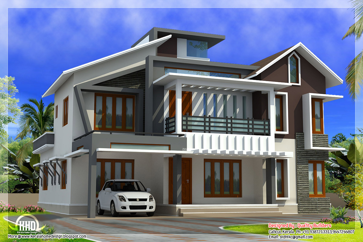 Modern contemporary home in 2578 kerala home for Contemporary home blueprints