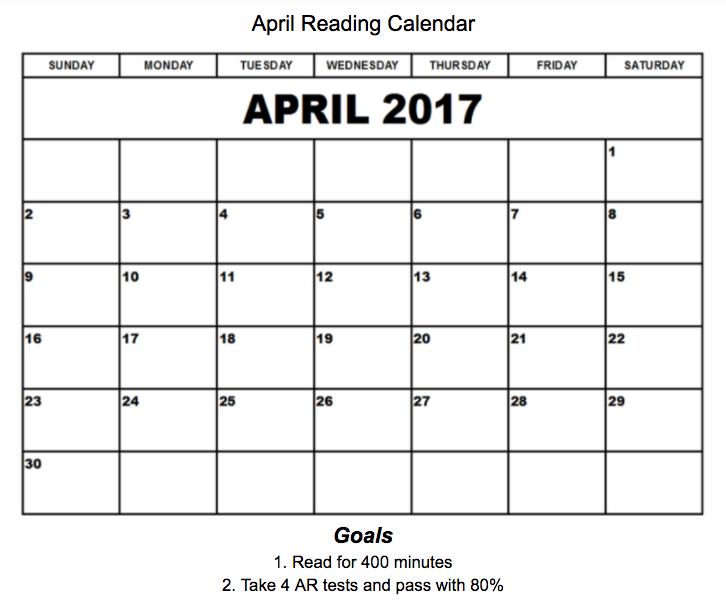 April Reading Calendar : Mrs coulon s class april reading calendar