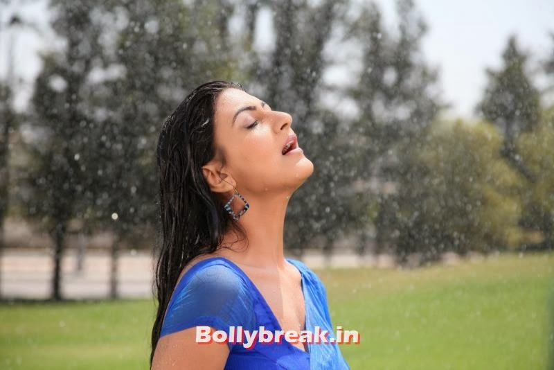 , Neelam Upadhyay Blue Saree Rain Song Images