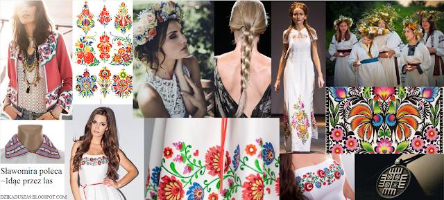 inspiracje, moda, folklor polski, rosyjski, noc kupały, ręce boga, wycinanki, kwiaty, suknie, warkocz