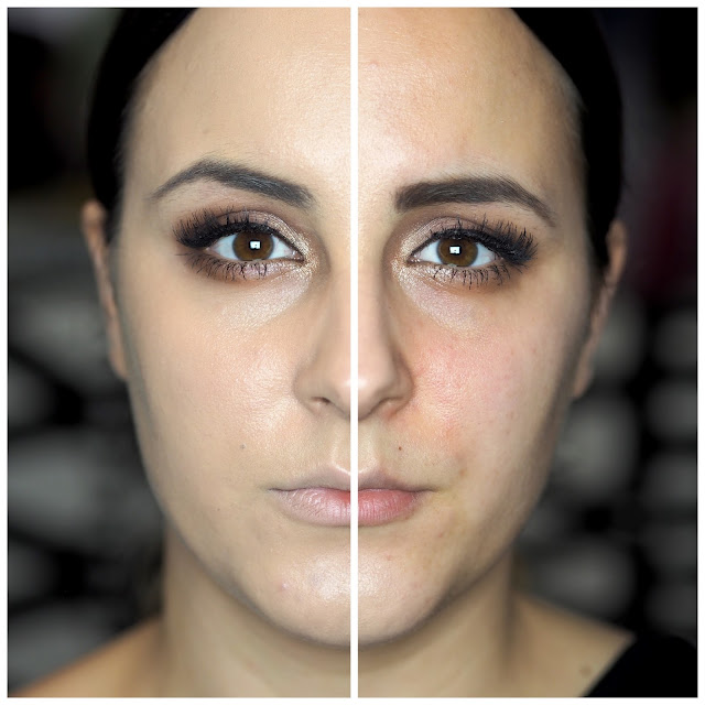 before and after of Makeup Revolution Fast Base Foundation stick