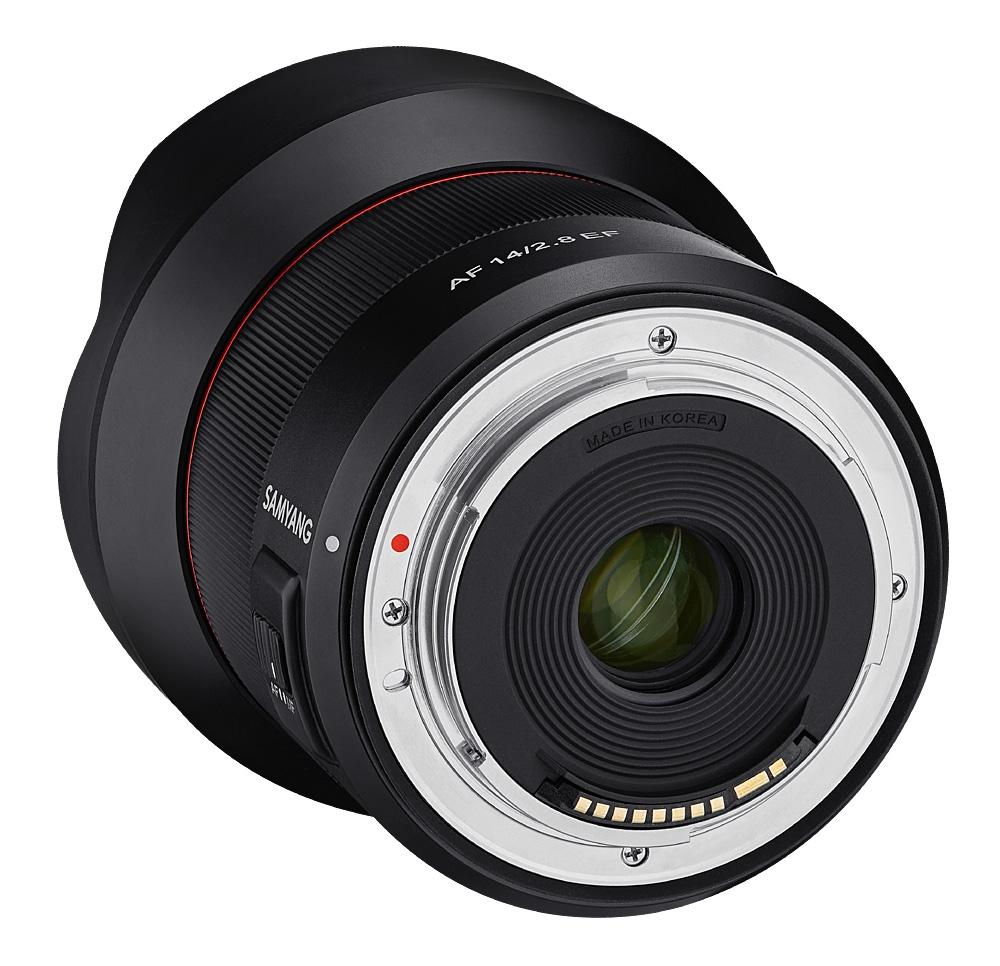 Samyang AF 14mm f/2.8 EF, вид сзади