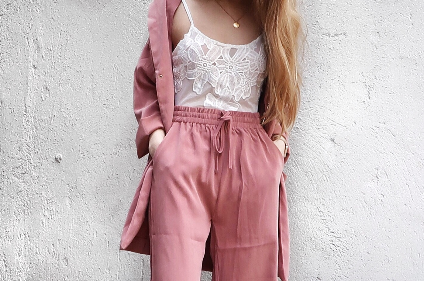 Boohoo White Lingerie and Black Sandals, Yesstyle Pink Pantsuit