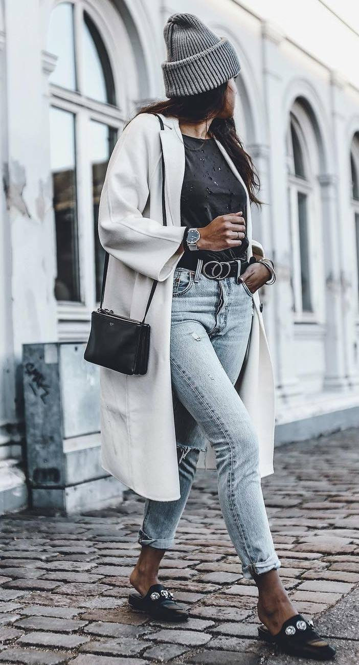 street style obsession / bag + white coat + hat + jeans + loafers + t-shirt