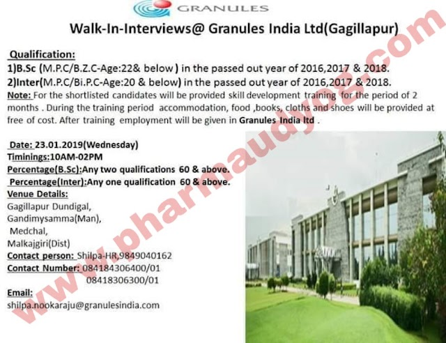 Granules | Walk-in interview for Freshers | Inter(MPC/BiPC) | BSc(Chemistry) | 23rd Jan 2019 | Hyderabad