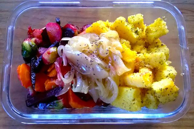 Polenta con verduras de temporada. Fácil y rápido