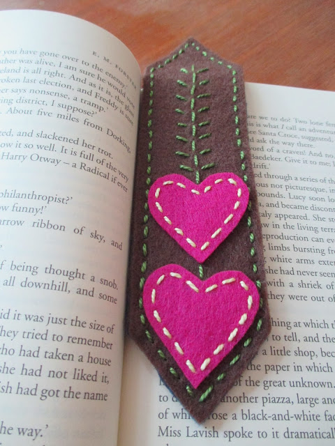 Handmade Felt Bookmark in Book