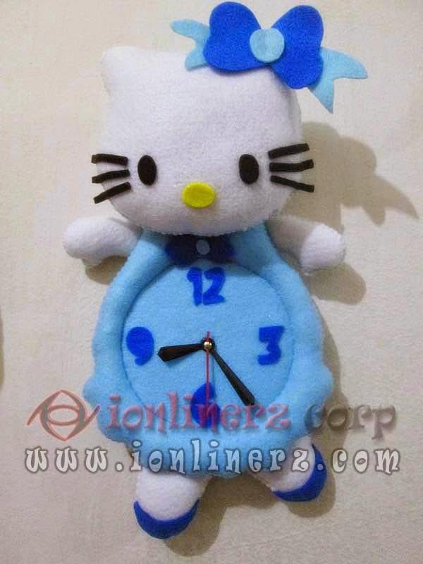 Jam Dinding Flanel Karakter Kartun Boneka Hello Kitty Blue