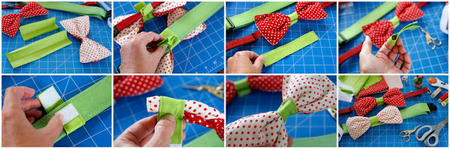 Step-by-step making a Velcro collar slide to attach a dog bow tie