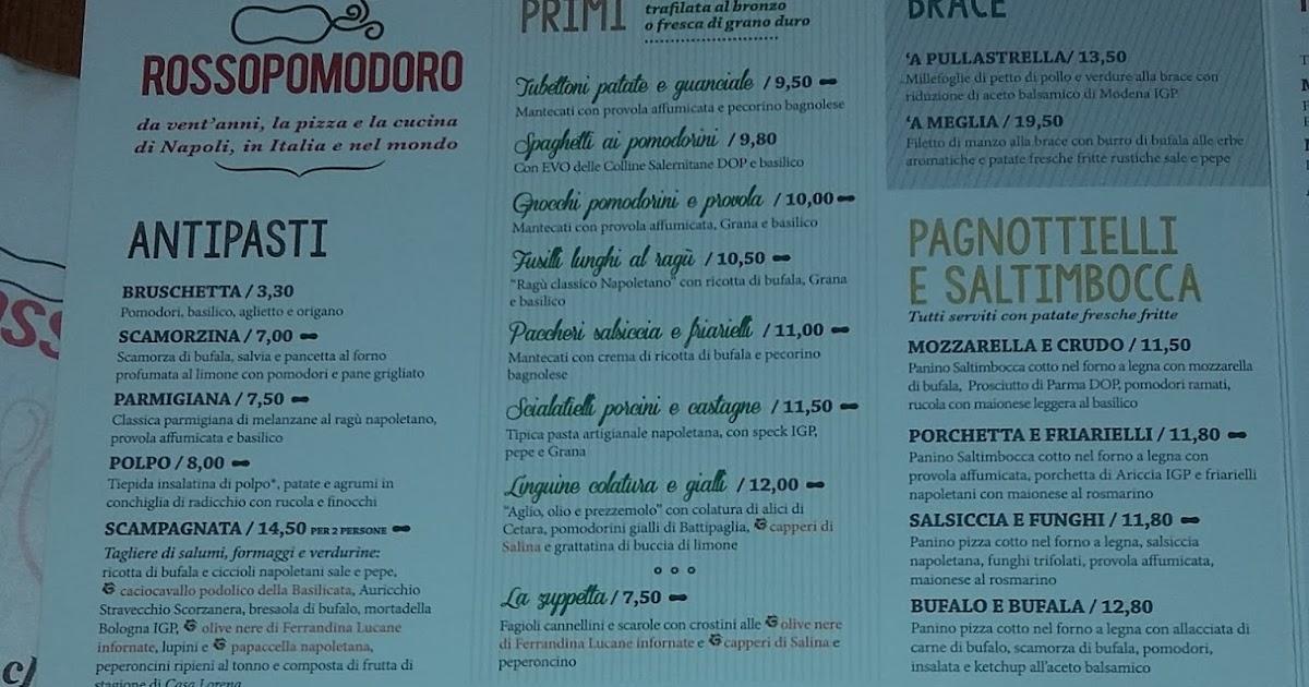 Menu e prezzi catena di ristoranti pizzerie rossopomodoro for Il rosso bologna menu