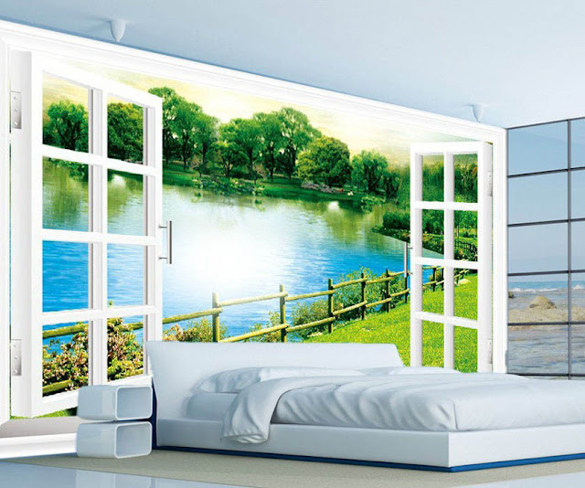 fönster tapet sovrum fototapet landskap natur sjö fondvägg