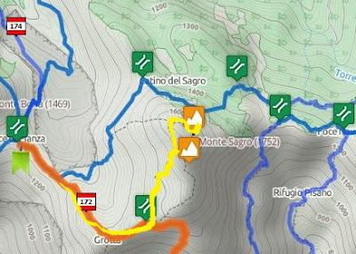 mappa sentiero per il Monte Sagro