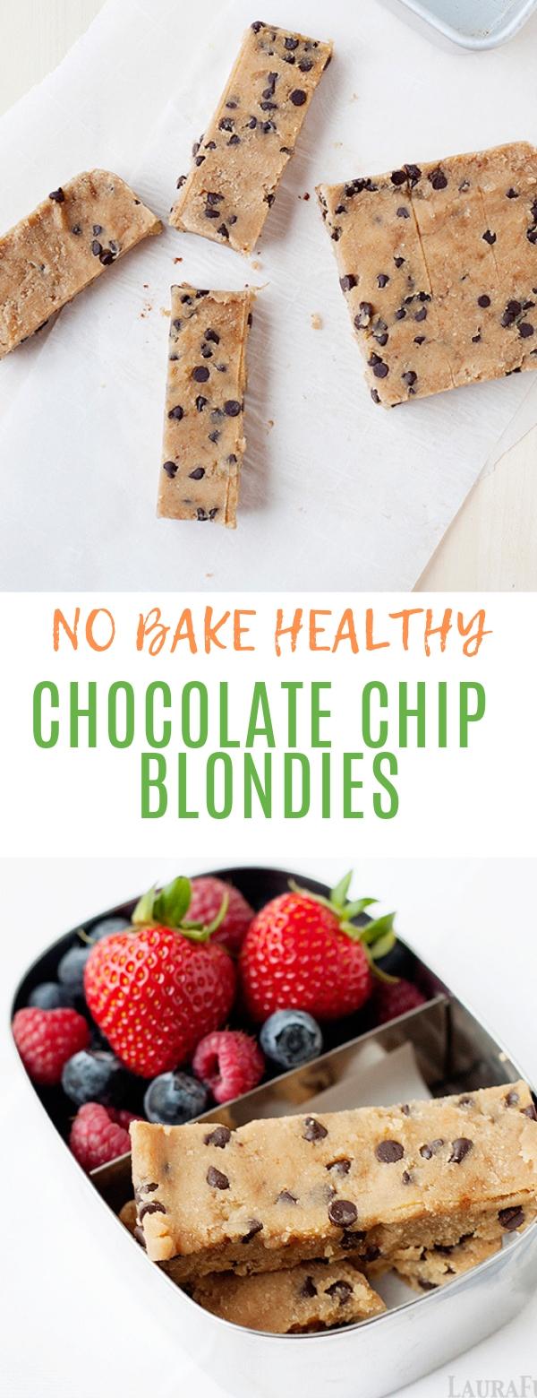 NO BAKE HEALTHY CHOCOLATE CHIP BLONDIES #nobake #chocolate