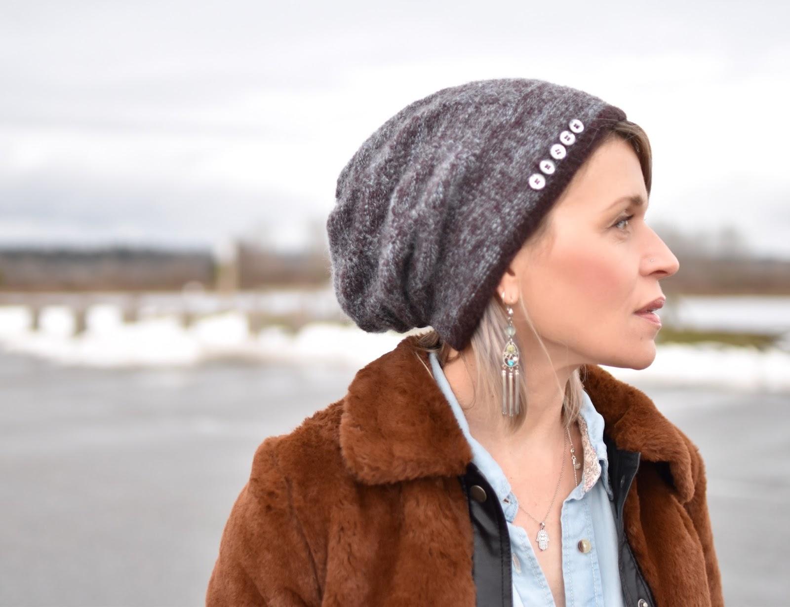 Monika Faulkner outfit inspiration - chambray shirt, furry bomber, woolen beanie