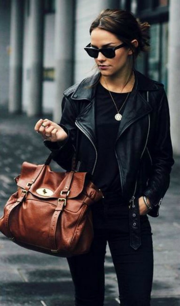 Woman Fashion leather jaket & Black Sunglasses