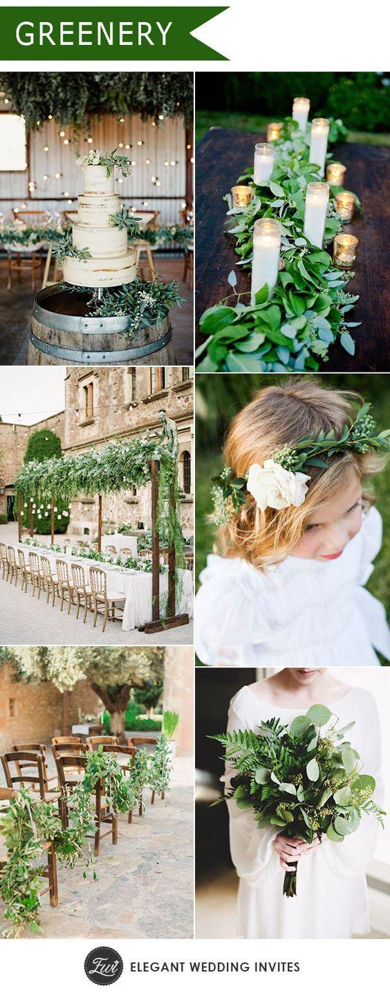 a998332ef851 Greenery - azaz szinte csak zöldek használata az esküvőn. Mellé lehet akár  elegáns is, viszont inkább natúr színekkel